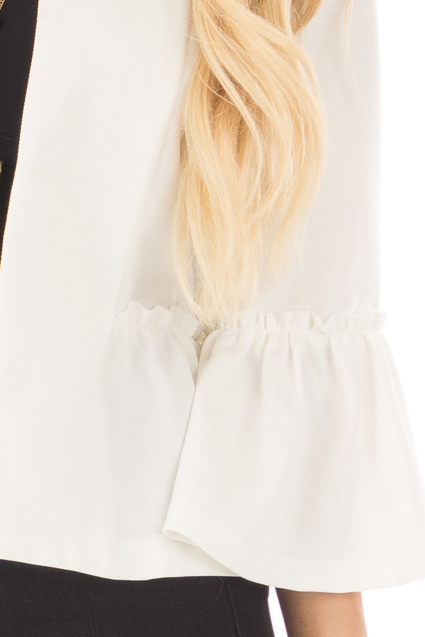 Off White Bell Sleeve Jacket with Gathered Waistline detail