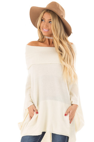 Cream Poncho Style Top with Pocket and Cowl Neck front close up