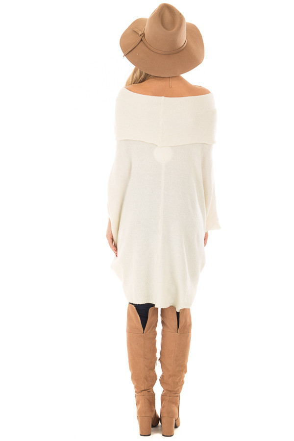 Cream Poncho Style Top with Pocket and Cowl Neck back full body