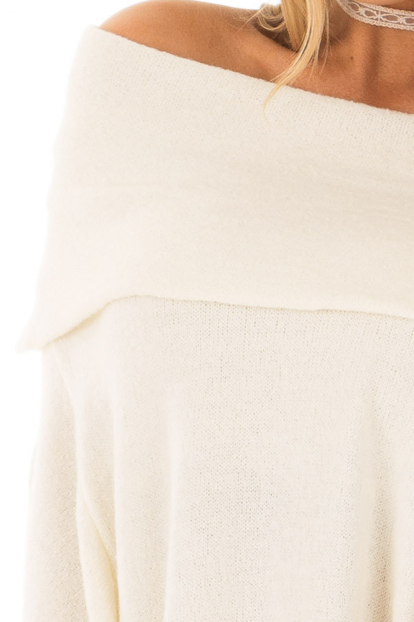 Cream Poncho Style Top with Pocket and Cowl Neck detail