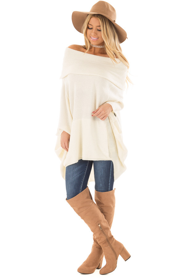 Cream Poncho Style Top with Pocket and Cowl Neck front full body