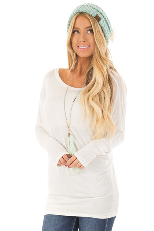 Ivory Boatneck Top with Dolman Sleeves front close up