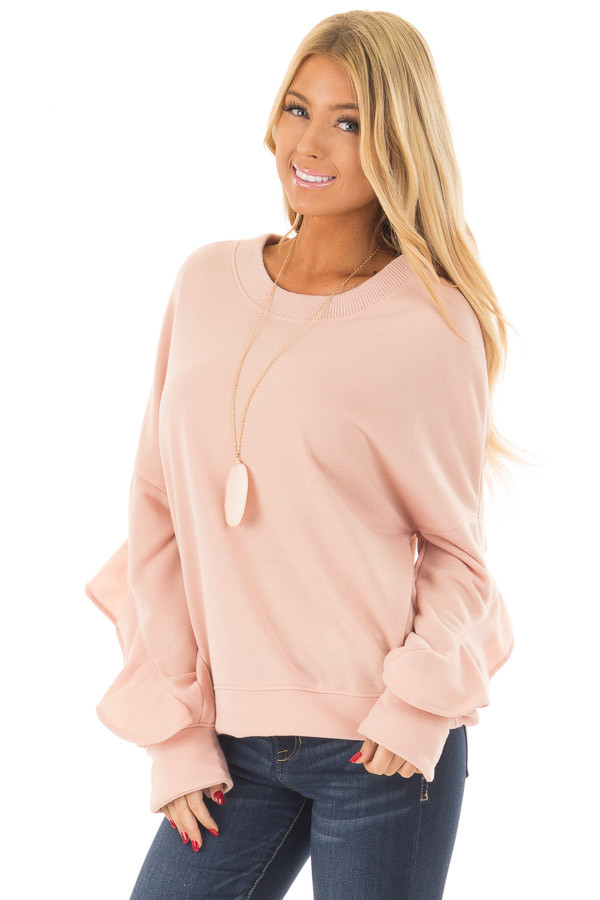 Blush Sweater with Wrap Around Ruffle Detail front close up