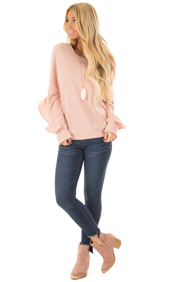 Blush Sweater with Wrap Around Ruffle Detail front full body