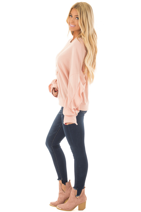 Blush Sweater with Wrap Around Ruffle Detail side full body
