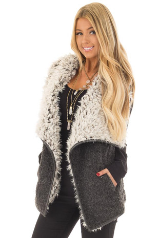 Charcoal Faux Fur Vest front close up