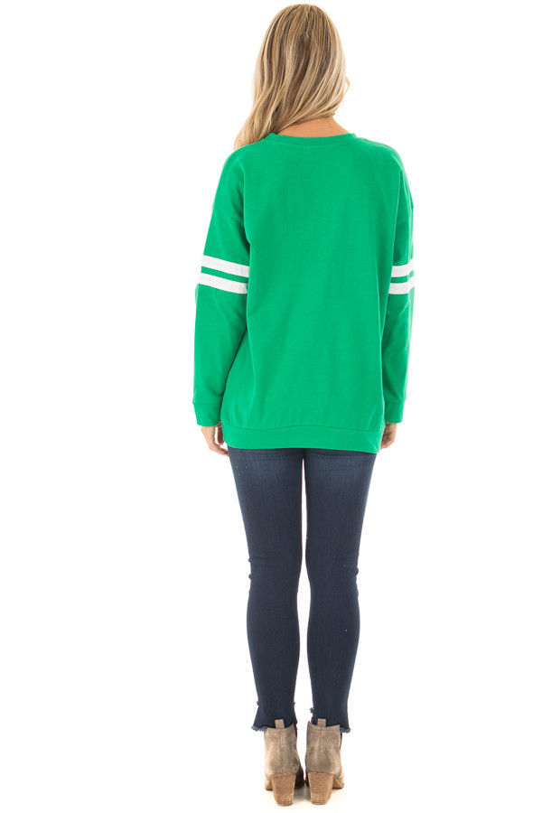 Kelly Green Long Sleeve Top with Ivory Details back full body