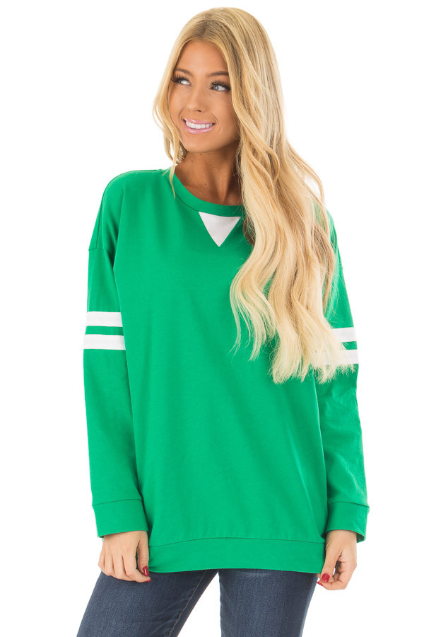 Kelly Green Long Sleeve Top with Ivory Details front close up