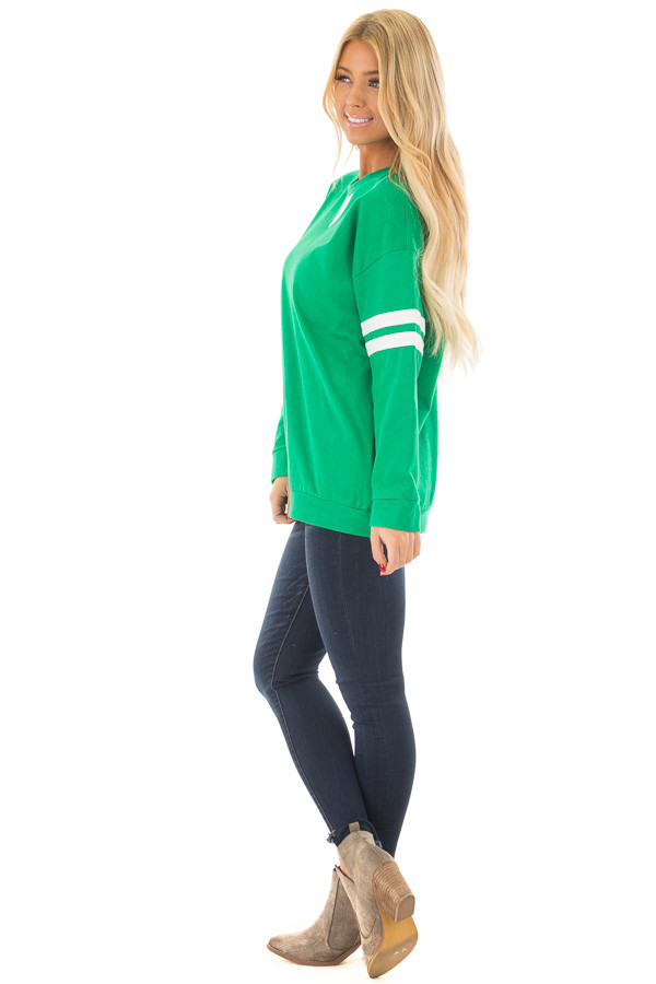 Kelly Green Long Sleeve Top with Ivory Details side full body