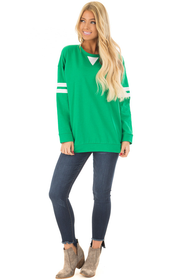 Kelly Green Long Sleeve Top with Ivory Details front full body