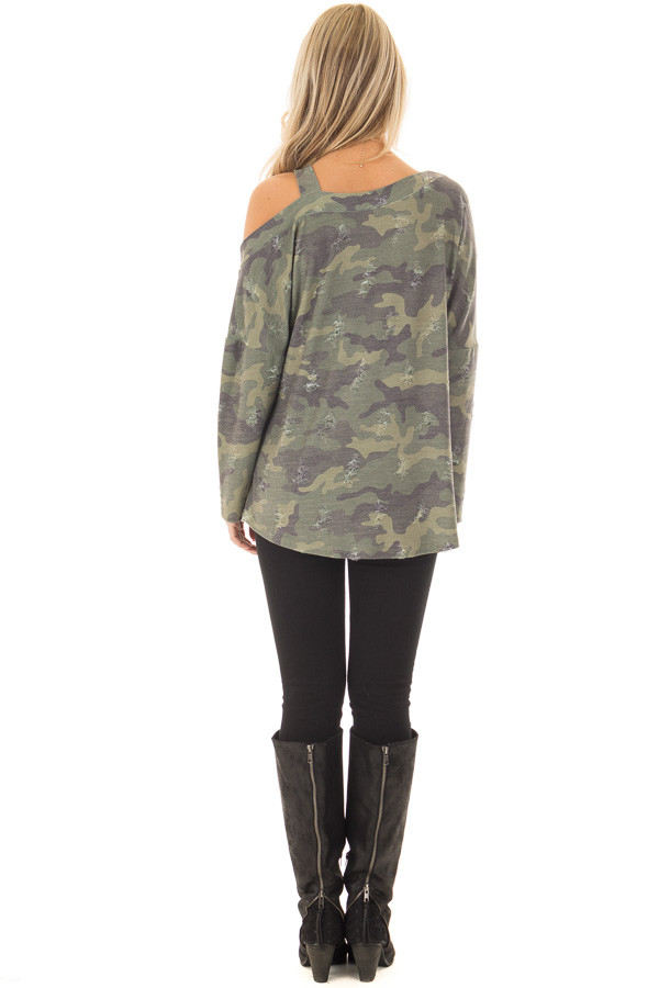 Camo Cold Shoulder Distressed Top back full body