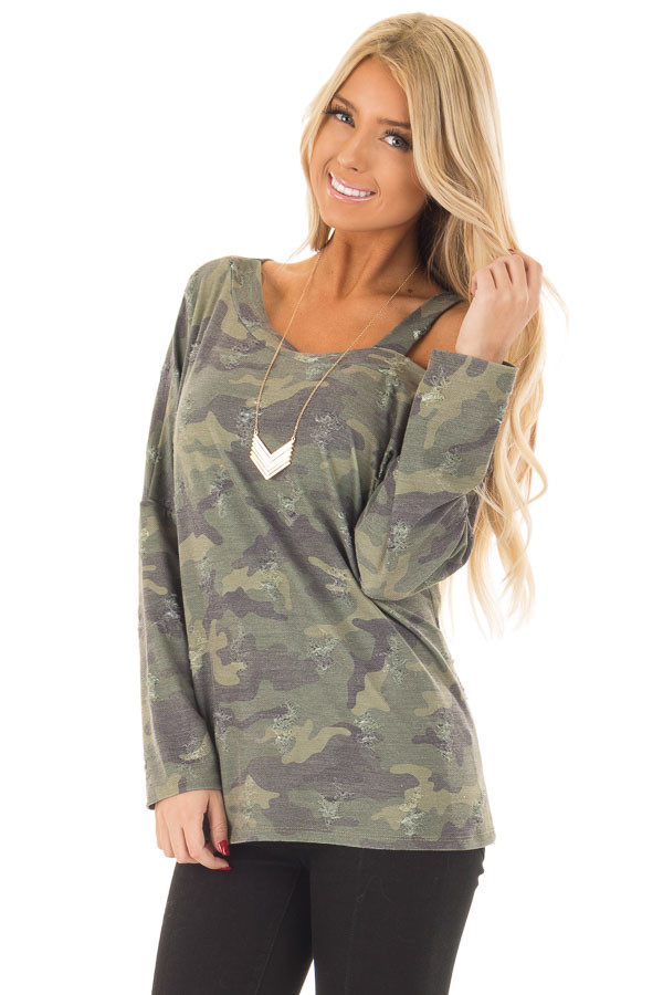 Camo Cold Shoulder Distressed Top front close up