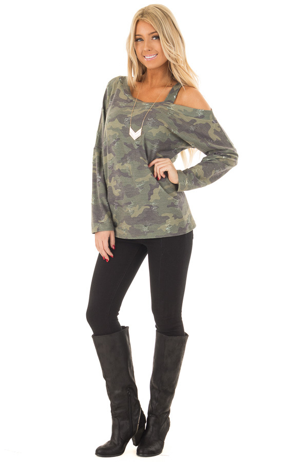 Camo Cold Shoulder Distressed Top front full body