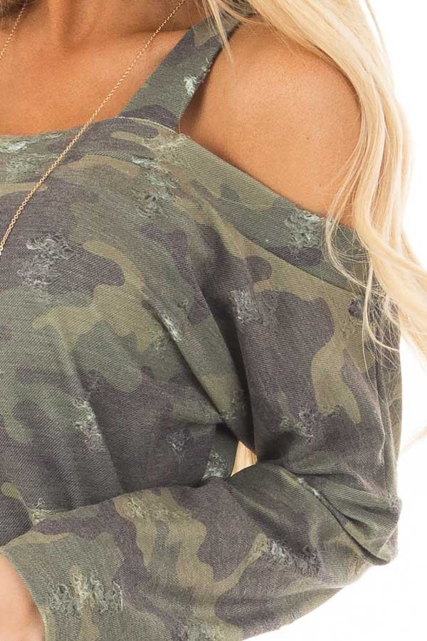 Camo Cold Shoulder Distressed Top detail