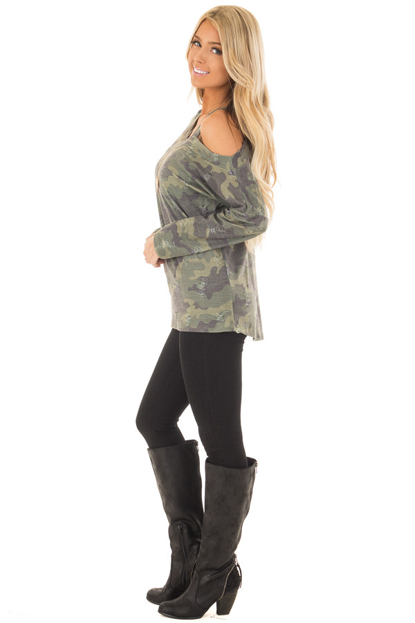 Camo Cold Shoulder Distressed Top side full body