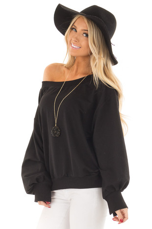 Black Off the Shoulder Long Sleeve Sweatshirt Top front close up