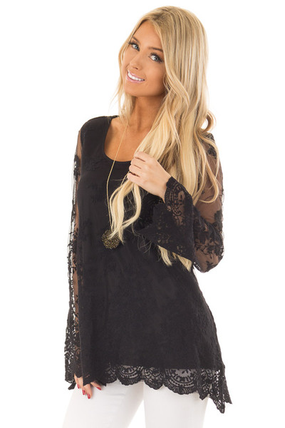Black Blouse with Sheer Lace Sleeves front close up
