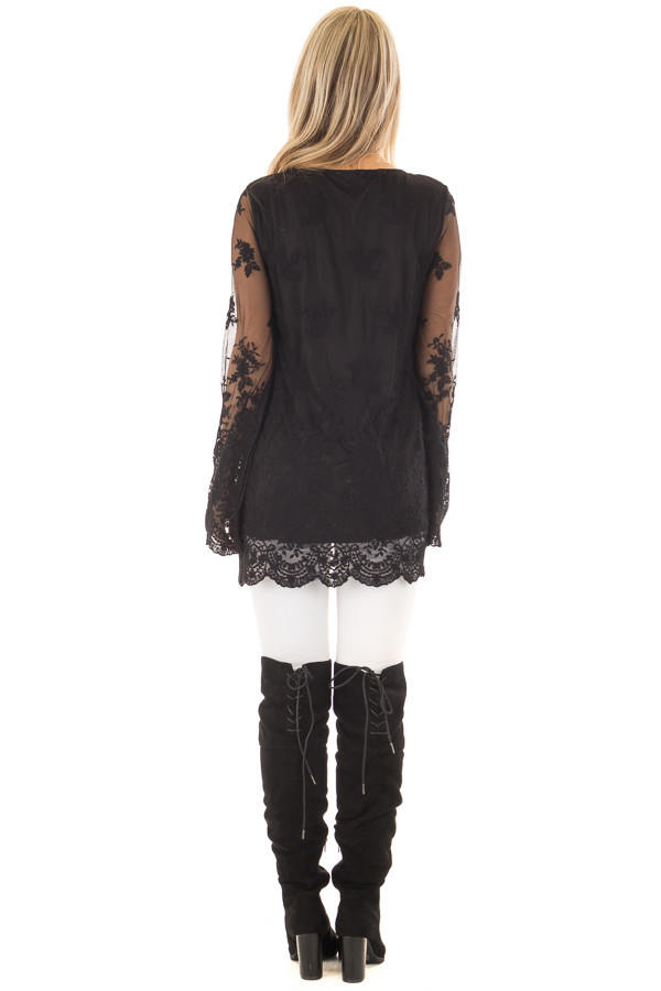 Black Blouse with Sheer Lace Sleeves back full body