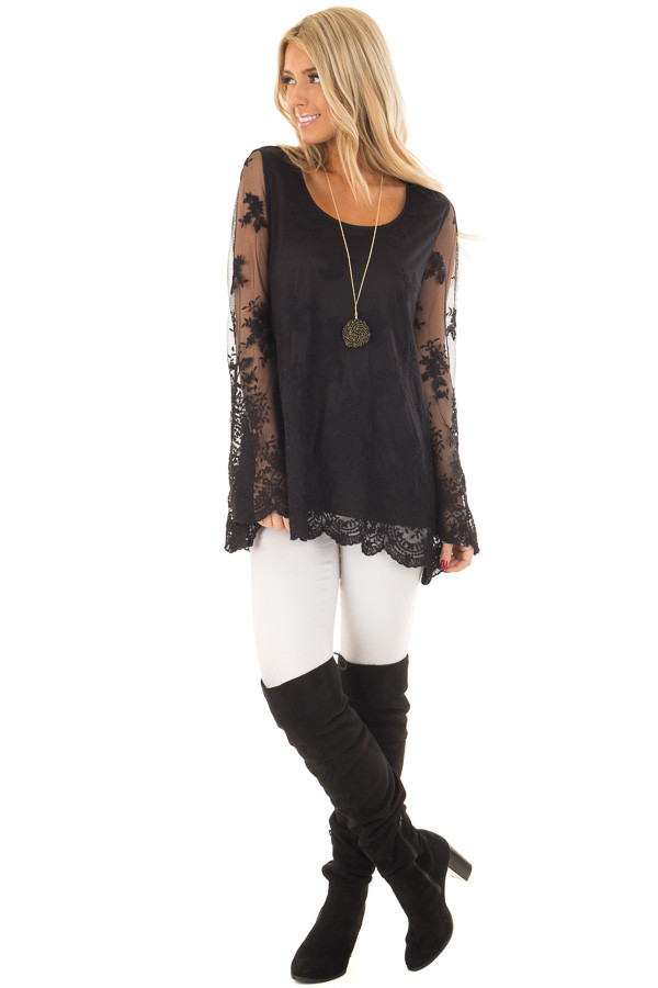 Black Blouse with Sheer Lace Sleeves front full body