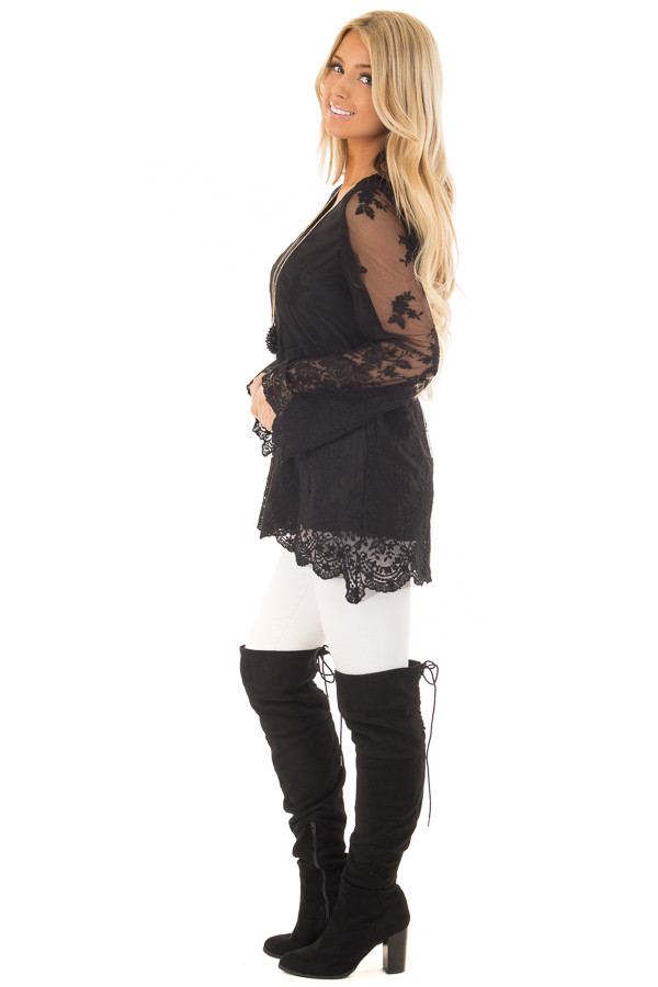 Black Blouse with Sheer Lace Sleeves side full body