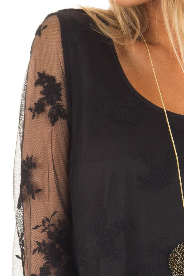 Black Blouse with Sheer Lace Sleeves detail