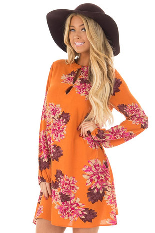 Sunset Orange Floral Print Button Up Dress front close up