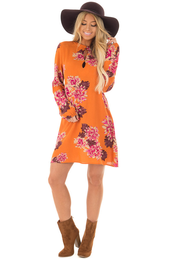 Sunset Orange Floral Print Button Up Dress front full body