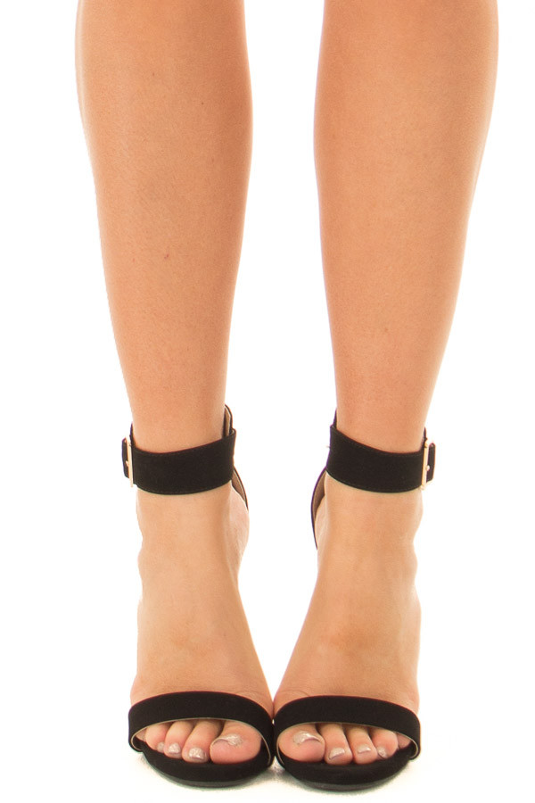 Black Faux Suede Stiletto Heels with Gold Buckle front view