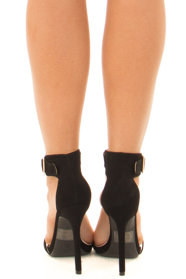 Black Faux Suede Stiletto Heels with Gold Buckle back view