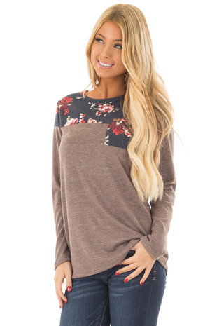 Mocha Top with Navy Floral Print Contrast and Front Pocket front close up