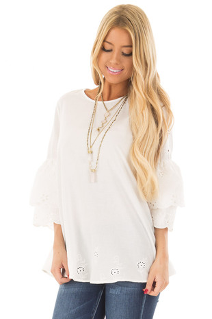 Ivory 3/4 Tiered Bell Sleeve Top with Lace Detail front close up