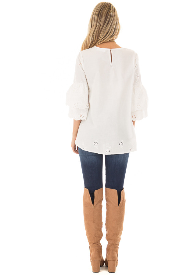 Ivory 3/4 Tiered Bell Sleeve Top with Lace Detail back full body