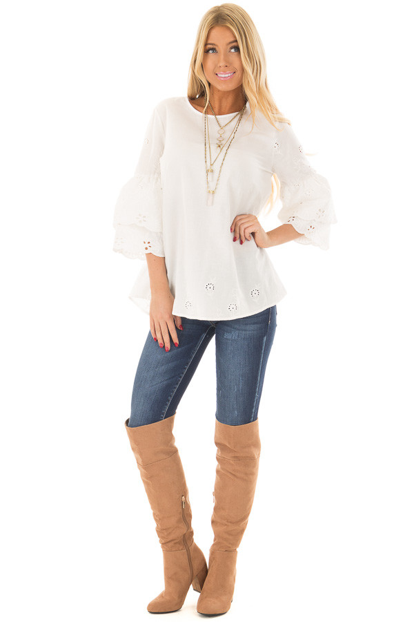 Ivory 3/4 Tiered Bell Sleeve Top with Lace Detail front full body