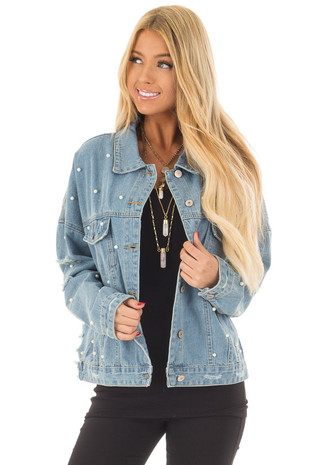 Light Denim Distressed Jacket with Pearl Details front close up