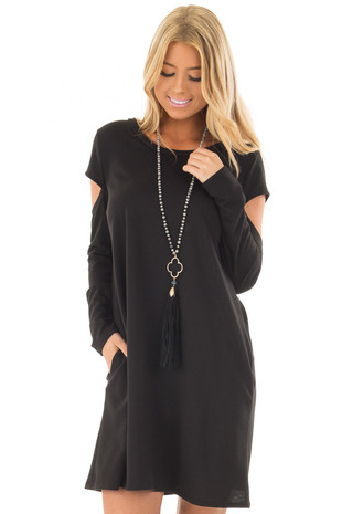 Black Dress with Cut Out Sleeves and Side Pockets front close up