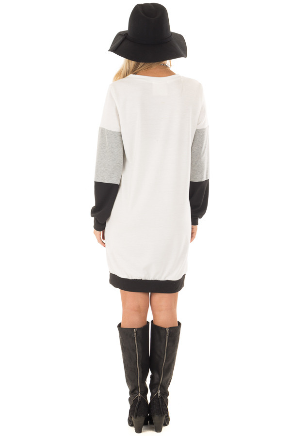 Black Grey and Ivory Color Blocked Dress with Side Pockets back full body