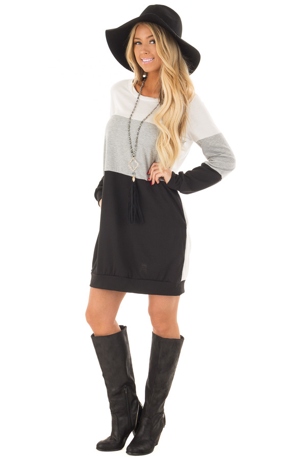 Black Grey and Ivory Color Blocked Dress with Side Pockets front full body