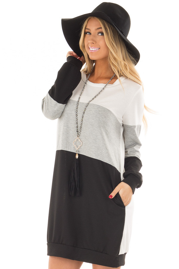 Black Grey and Ivory Color Blocked Dress with Side Pockets front close up