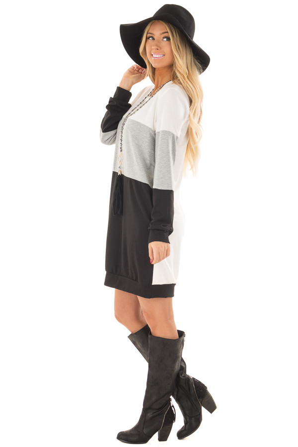 Black Grey and Ivory Color Blocked Dress with Side Pockets side full body