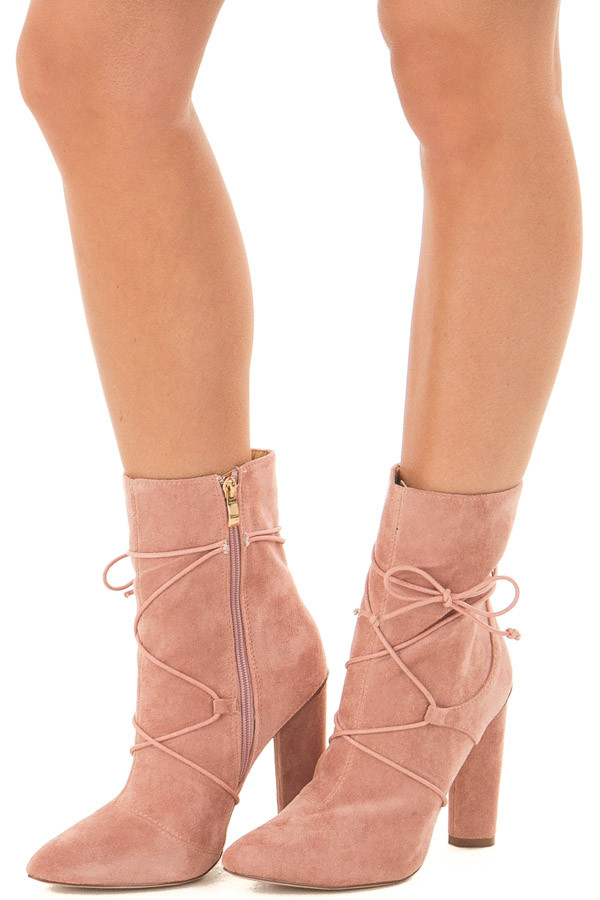Blush Faux Suede Heel Bootie with Lace Up Details front side view