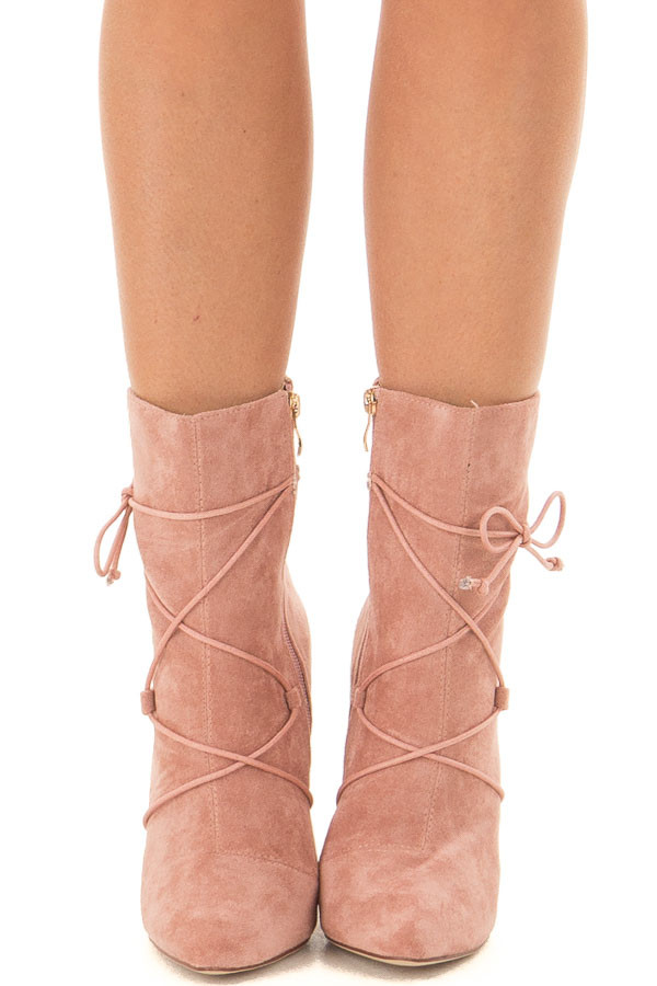 Blush Faux Suede Heel Bootie with Lace Up Details front view