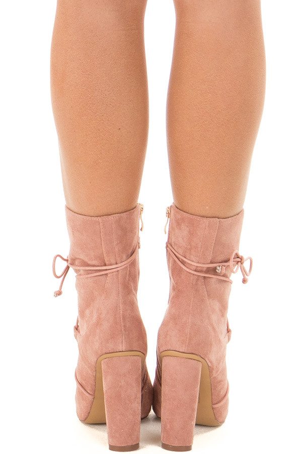 Blush Faux Suede Heel Bootie with Lace Up Details back view