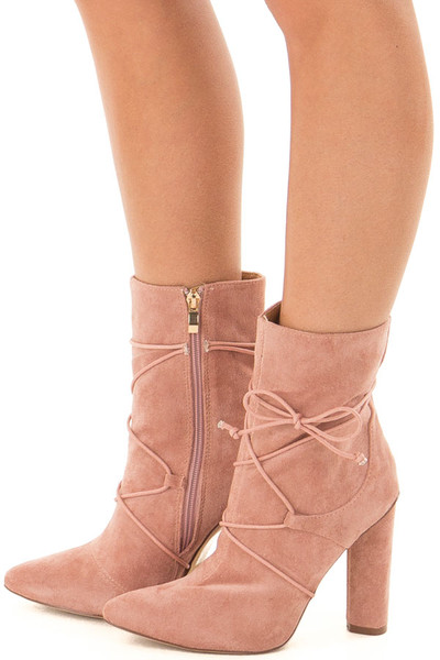 Blush Faux Suede Heel Bootie with Lace Up Details side view