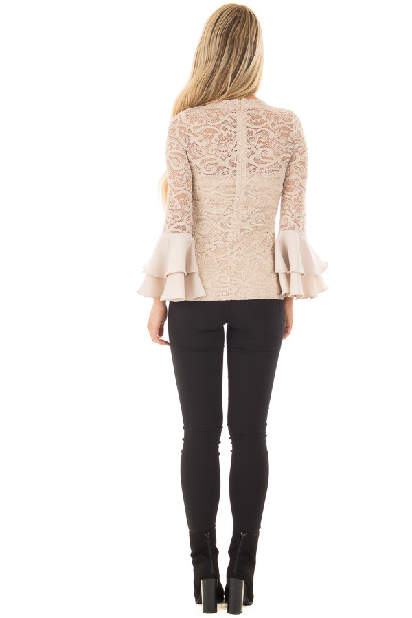 Beige Sheer Lace Fitted Top with Tiered Bell Sleeves back full body