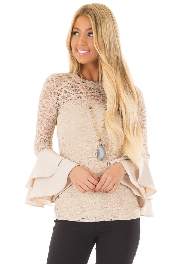 Beige Sheer Lace Fitted Top with Tiered Bell Sleeves front close up