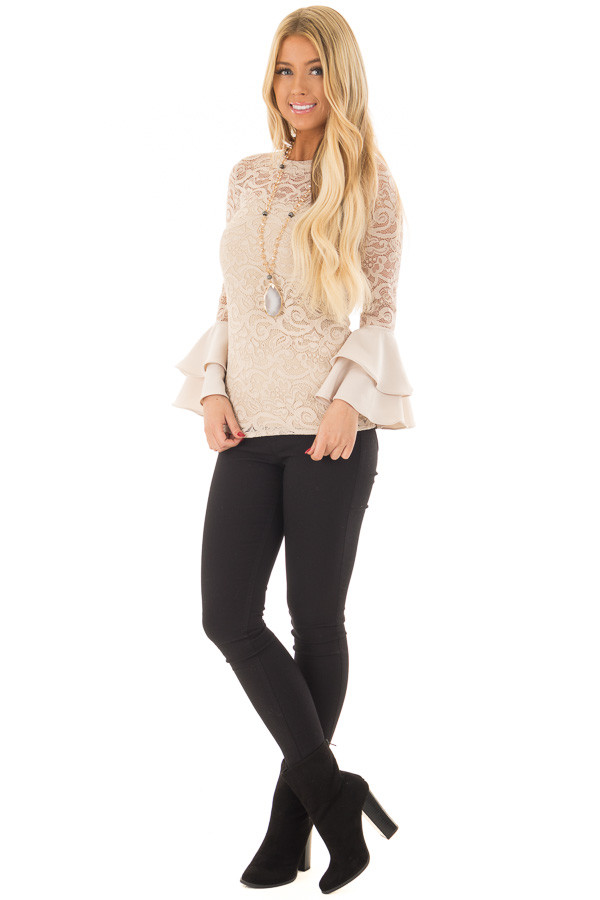Beige Sheer Lace Fitted Top with Tiered Bell Sleeves front full body