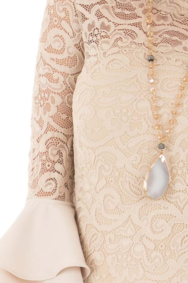 Beige Sheer Lace Fitted Top with Tiered Bell Sleeves detail