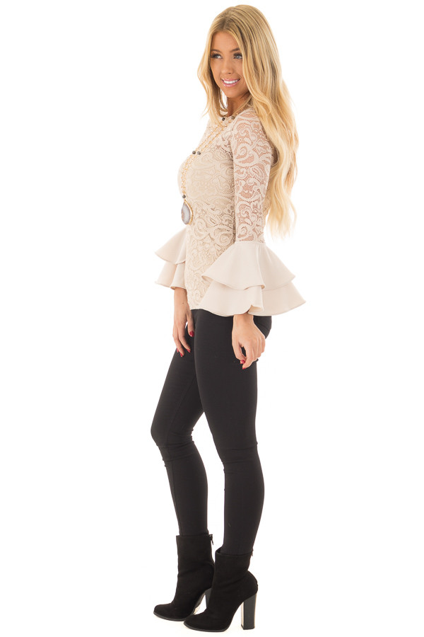 Beige Sheer Lace Fitted Top with Tiered Bell Sleeves side full body
