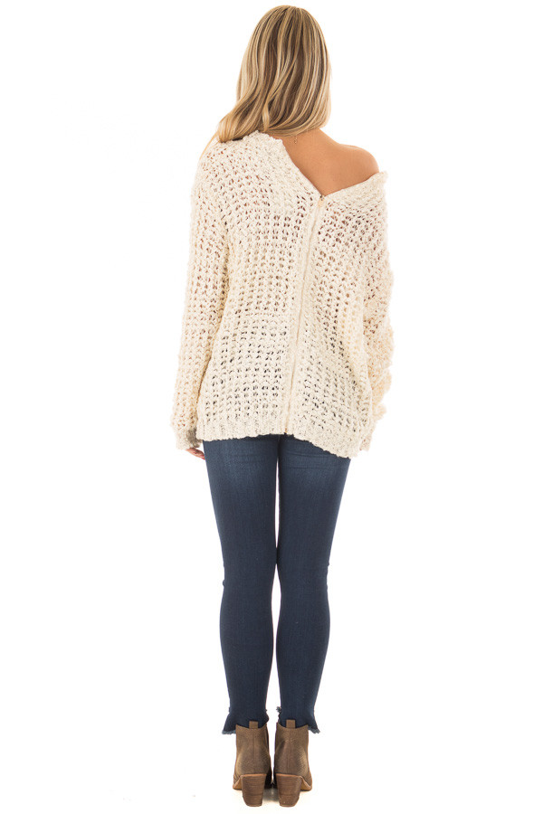 Cream Loose Knit High Low Sweater with Zip Up Back back full body