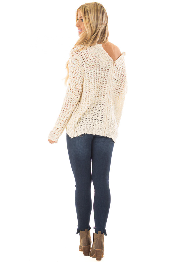 Cream Loose Knit High Low Sweater with Zip Up Back back side full body